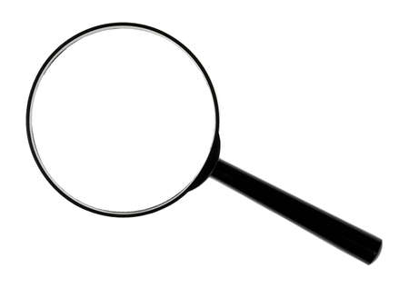 A black magnifying glass against white background. photo