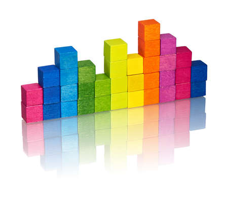 A diagram constructed consisting of colored wooden cubes. photo