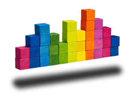 constructed: A diagram constructed consisting of colored wooden cubes. Stock Photo