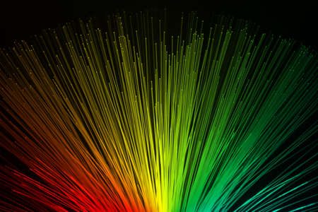 fiber optic lamp: In optical fibers occurs colored light at the end. Stock Photo