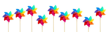 pinwheels: Several large colorful pinwheels against white background.