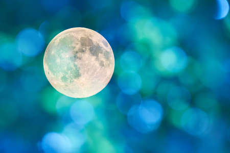 full moon romantic night: Reflections of the sun create patterns did form a blurred background.