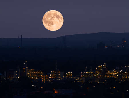 chemical plant: About a chemical plant is the bright moon.