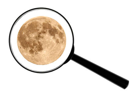 vitreous: A magnifying glass against white background Enlarged The Full Moon.