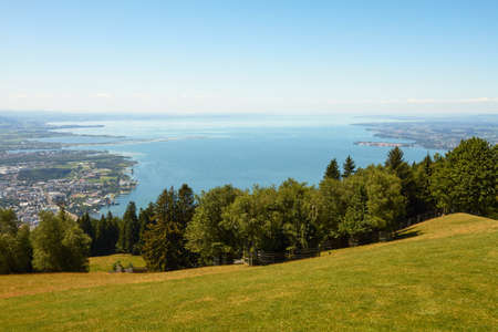 Wide Shot with view over the Lake Constance Entire.