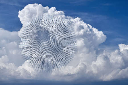 cloud shape: The picture shows a symbol of cloud computing, the sharing of resources in a computer network.