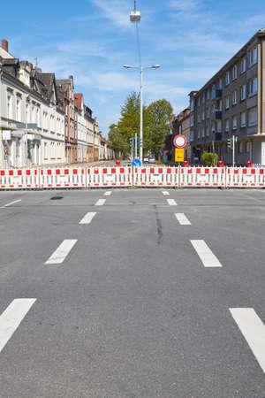 A large barrier Ensures a construction site.