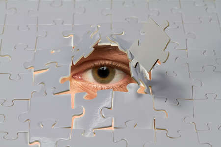 voyeur: An eye looking out from a hole in a puzzle.
