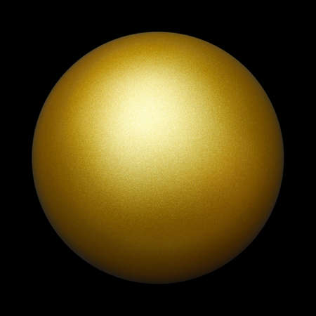 golden ball: An isolated golden ball against black background. Stock Photo