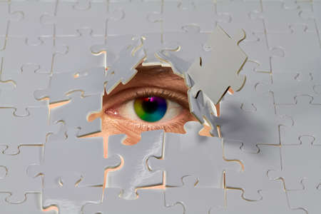 eye hole: An eye looking out from a hole in a puzzle.