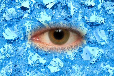 curiously: One eye looks curiously from blue ice cubes.
