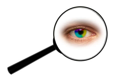 voyeur: A magnifying glass against white background enlarged eye.