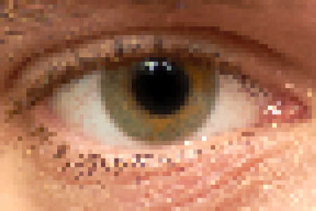 human right: Rough pixelated human right eye with light reflections.