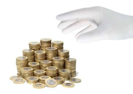 A hand in a white glovegrabs a stack of euro coins.