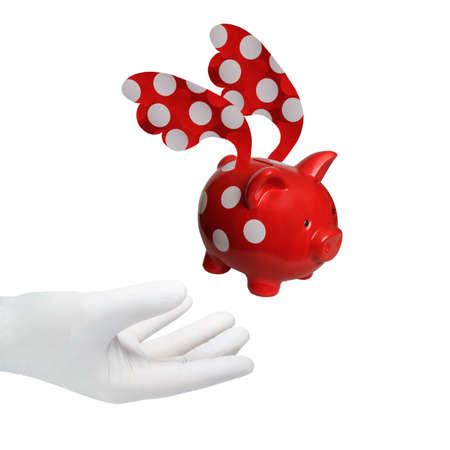 A hand in a white glove reaches for a piggy bank.