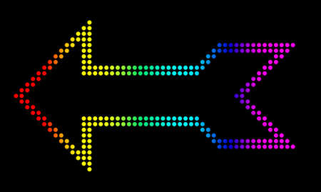 Arrow made of light emitting diodes, isolated against a black background. Stock Photo