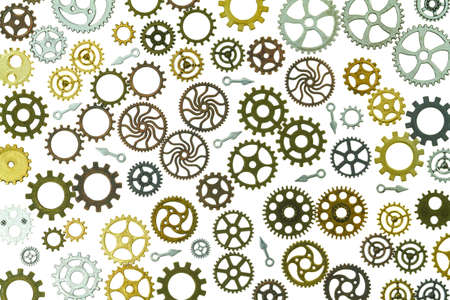 Several gears mesh with each other with their teeth.