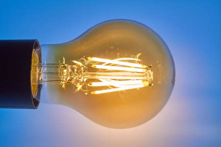 Spherical lamp that generates light with LEDs. Banco de Imagens
