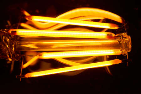 Light-emitting diodes constructed as filament emit bright light. Imagens