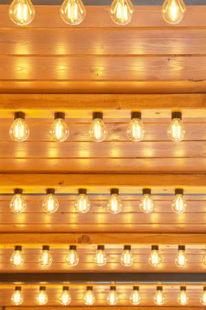 Light bulbs with light emitting diodes are arranged in a matrix. Imagens