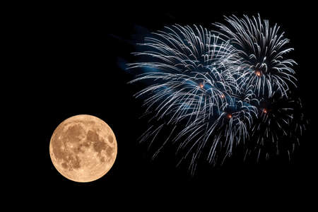 A great fireworks in the night before the full moon.