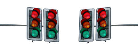 At a four-way traffic light, the three colors light up red, yellow and green at the same time. Banco de Imagens