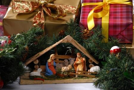 creche: Creche at Christmas over white Stock Photo