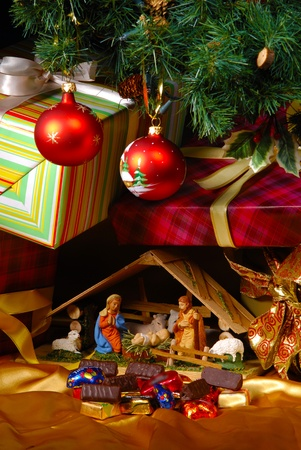 baby jesus: Creche at Christmas over white Stock Photo