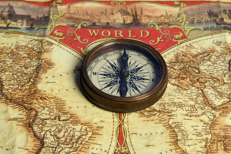 Treasure map, old navigation system, compass and direction Stock Photo - 17685131