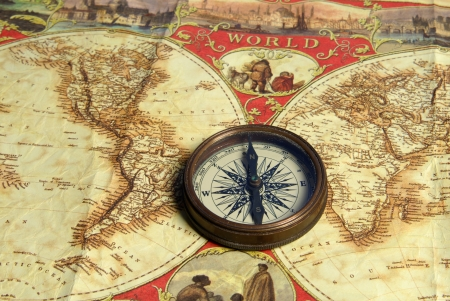 Treasure map, old navigation system, compass and direction Stock Photo - 17685093