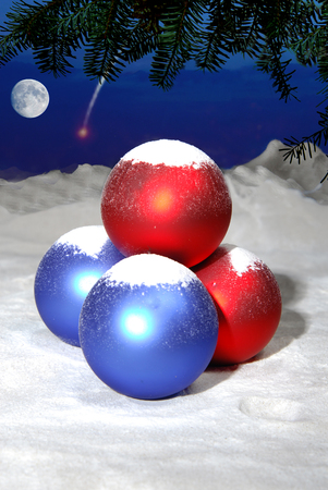 Christmas balls on the background of the sky with the moon photo
