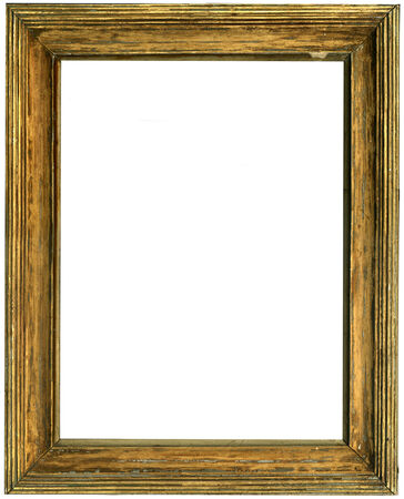 envelops: destroyed the old wooden frame on white background Stock Photo