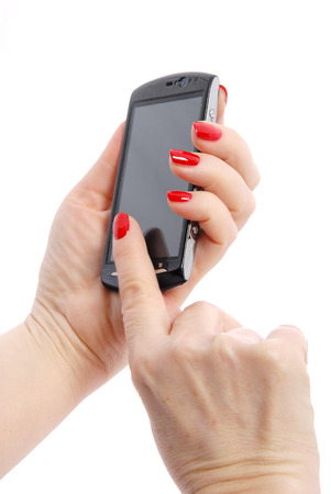 mobile phone in woman photo