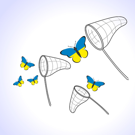 Butterfly with the flag of Ukraine away from the landing nets
