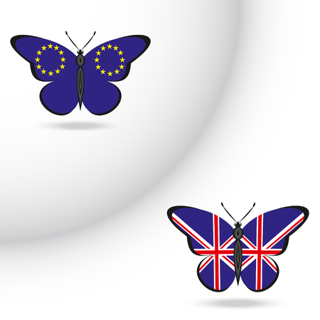 Two butterflies with the flag of EU and Great Britain Illustration