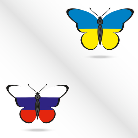 Two butterflies with the flag of Russia and Ukraine