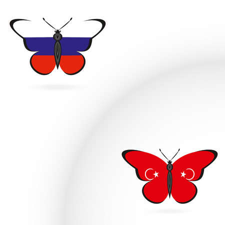 Butterflies with the flag of Russia and Turkey Illustration
