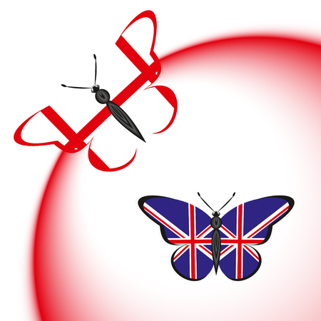 Butterflies with the flag of England and Great Britain