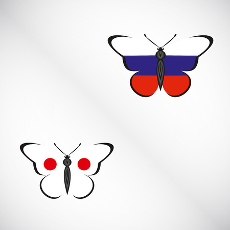 Butterflies with the flag of Russia and Japan