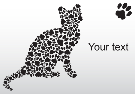 Silhouette of cat from the cat tracks Illustration
