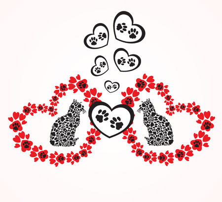 Hearts with animals footprints
