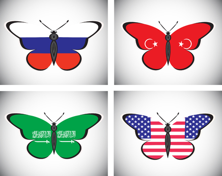 Butterflis with flags of Russia, USA, Saudi Arabia and Turkey Illustration