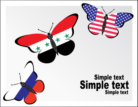Butterflies with flag of Russia, USA and Syria