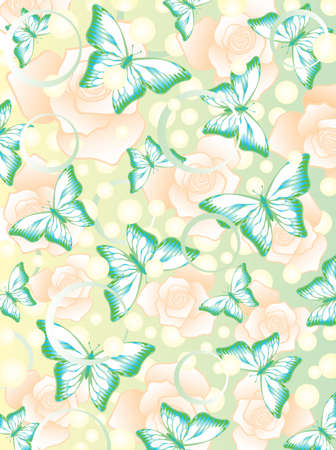 Romantic pattern with colorful butterflies and flowers