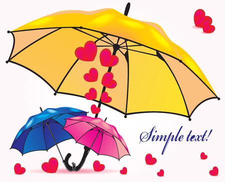 rainbow umbrella: A family of umbrellas sheltering hearts and little umbrellas