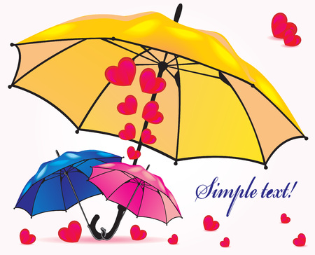 A family of umbrellas sheltering hearts and little umbrellas