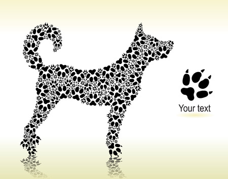 Silhouette of dog from the cat tracks for print