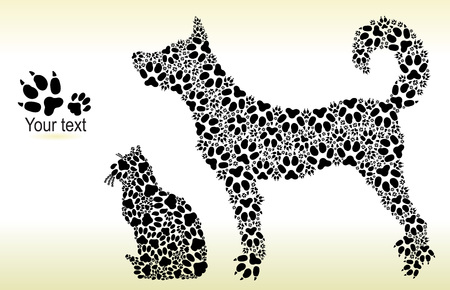 Silhouettes of cat and dog from tracks for print