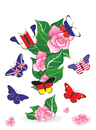 Butterflies with flags and floral exclamation mark from leaves
