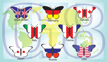 Butterflies with flags of the countries